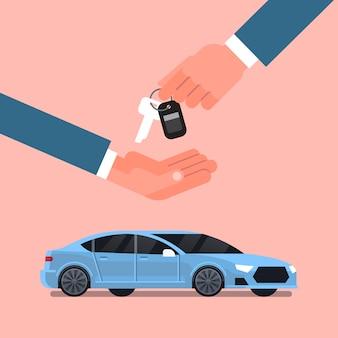Concetto di noleggio o di vendita di acquisto dell'automobile, mano dell'uomo del venditore che fornisce le chiavi al proprietario sopra il nuovo veicolo