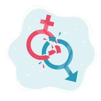 Concetto di norme di genere. simboli di genere che si rompono in pezzi.