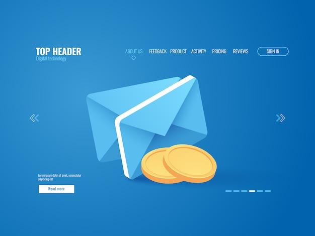 Concetto di notifica di pagamento, busta con moneta d'oro, e-mail