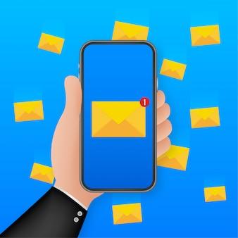 Concetto di notifica e-mail. nuova e-mail sullo schermo dello smartphone. illustrazione.