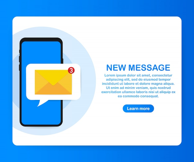 Concetto di notifica e-mail. nuova e-mail sullo schermo dello smartphone.