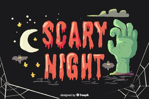 Concetto di notte spaventosa di halloween con scritte