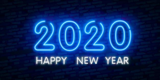 Concetto di nuovo anno 2020 con luci al neon colorate. elementi di design retrò per presentazioni, volantini, volantini,