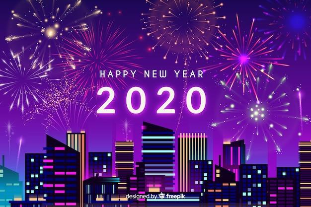 Concetto di nuovo anno con fuochi d'artificio