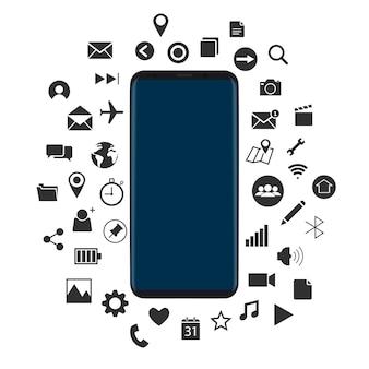 Concetto di nuovo smartphone con il vettore di icone nere