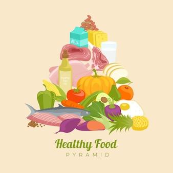 Concetto di nutrizione con piramide alimentare