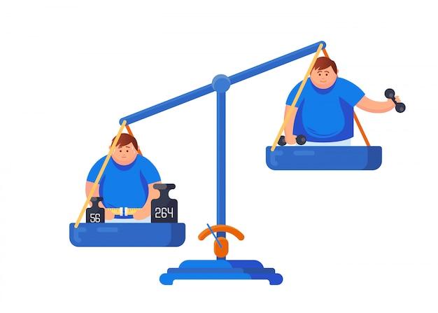 Concetto di obesità. bilance da cartone animato con un uomo grasso misurano la sua vita e un uomo fa sport, tiene in mano dei manubri