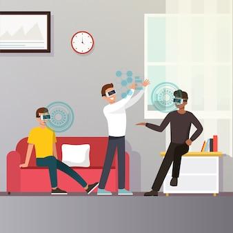 Concetto di occhiali di realtà aumentata virtuale
