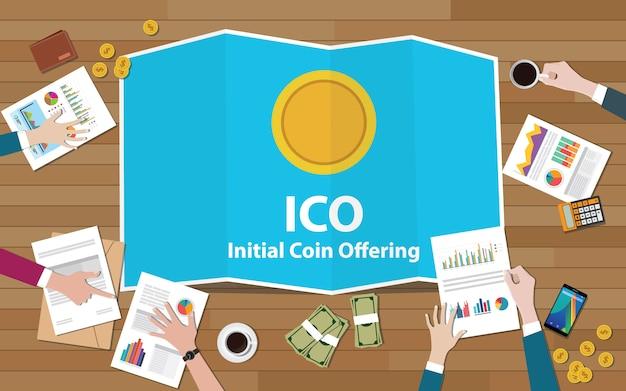 Concetto di offerta iniziale di monete ico