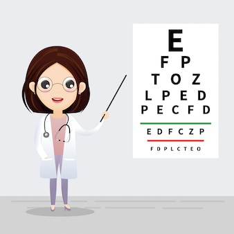 Concetto di oftalmologia. oculista che punta al diagramma di prova dell'occhio. esame e correzione della vista. vettore, illustrazione