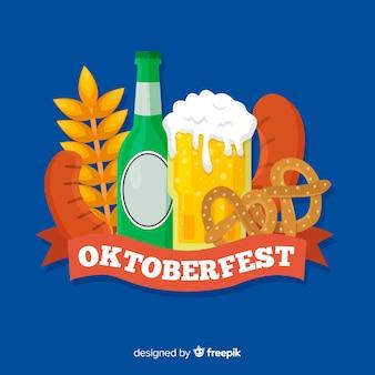 Concetto di oktoberfest con sfondo design piatto