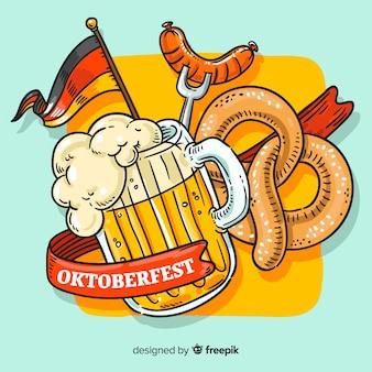 Concetto di oktoberfest con sfondo disegnato a mano