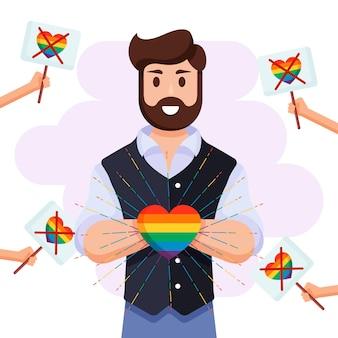 Concetto di omofobia con il cuore dell'arcobaleno della tenuta dell'uomo