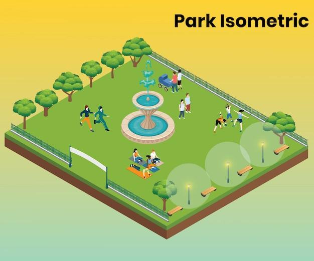 Concetto di opera d'arte isometrica del parco per l'intrattenimento