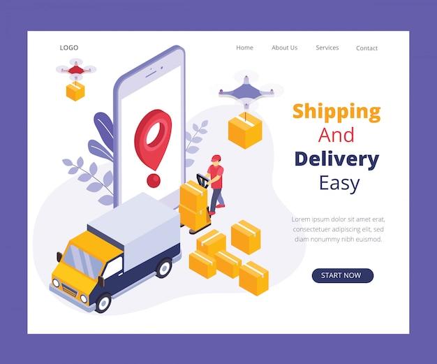 Concetto di opera d'arte isometrica del sistema di consegna online.