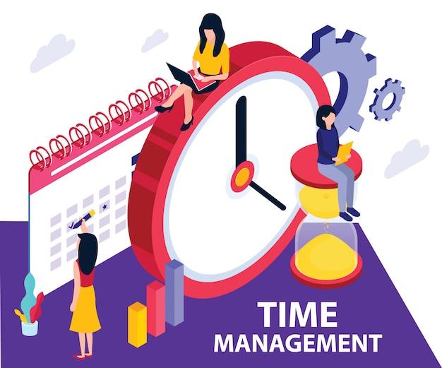 Concetto di opera d'arte isometrica della gestione del tempo.