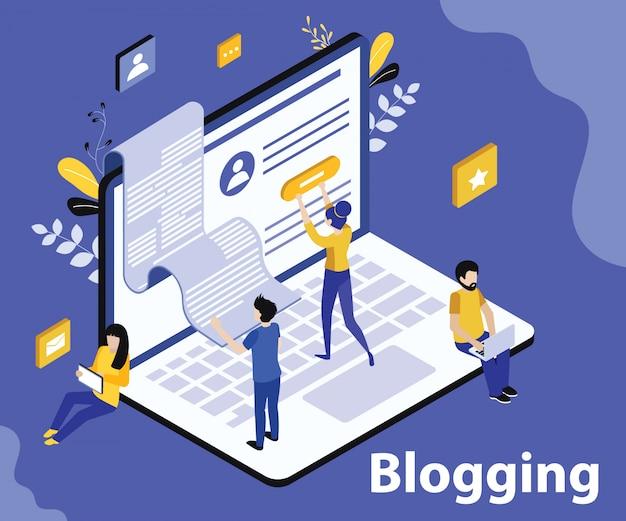 Concetto di opera d'arte isometrica di blogging sul sito web