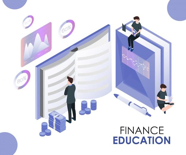 Concetto di opera d'arte isometrica di educazione finanziaria.