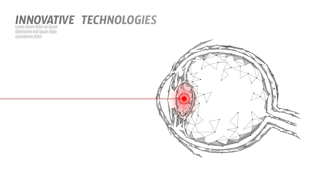 Concetto di operazione medicina correzione della visione laser. tecnologia dell'innovazione assistenza sanitaria. scanner biometrico a triangolo poligonale a basso poli 3d eye. oftalmologia bulbo oculare umano