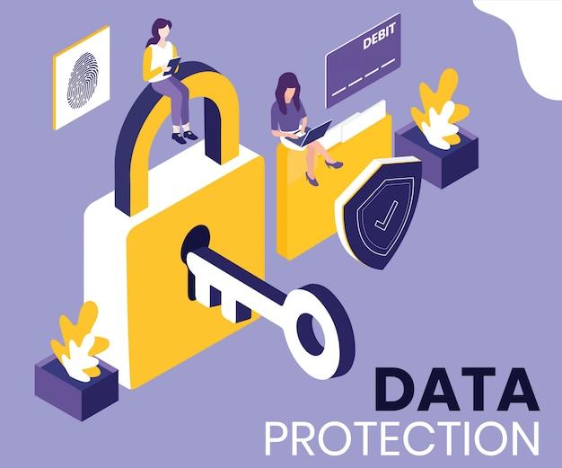 Concetto di opere d'arte isometrica di protezione dei dati.
