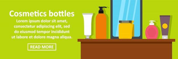 Concetto di orizzontale del modello dell'insegna delle bottiglie dei cosmetici