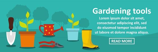 Concetto di orizzontale dell'insegna degli strumenti di giardinaggio