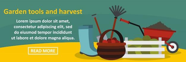 Concetto di orizzontale dell'insegna del raccolto e degli strumenti di giardino