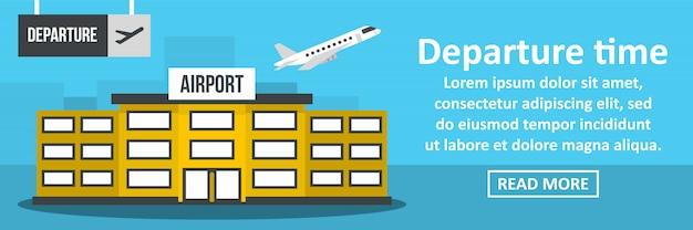 Concetto di orizzontale dell'insegna di tempo di partenza dell'aeroporto