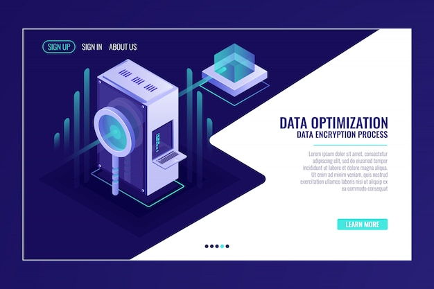 Concetto di ottimizzazione dei dati di ricerca delle informazioni, stanza del server, lente d'ingrandimento