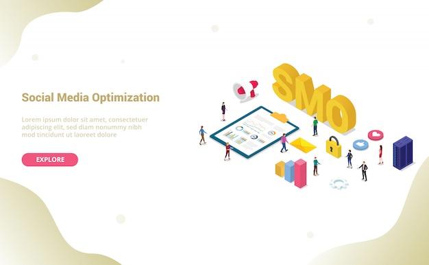 Concetto di ottimizzazione dei social media smo con moderno per modello di sito web o home page di destinazione