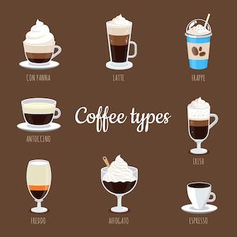Concetto di pacchetto tipi di caffè