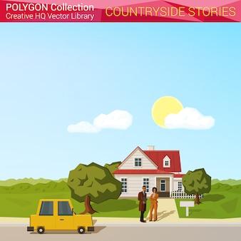 Concetto di paesaggio della contea. la gente con l'automobile vicino all'illustrazione poligonale di stile della casa.