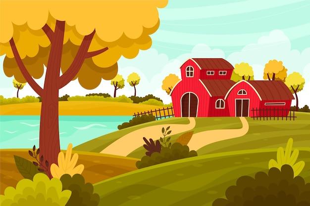 Concetto di paesaggio di campagna