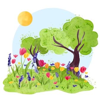 Concetto di paesaggio di primavera dell'acquerello