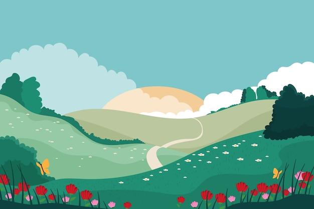 Concetto di paesaggio di primavera