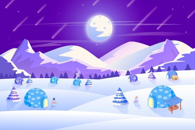 Concetto di paesaggio invernale design piatto