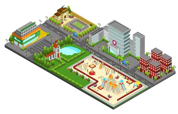 Concetto di paesaggio urbano isometrico con edifici viventi del supermercato della scuola della chiesa dell'ospedale del lago del parco giochi per bambini isolati