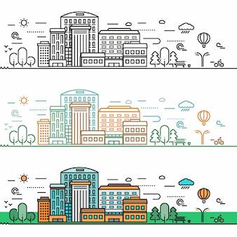 Concetto di paesaggio urbano lineare
