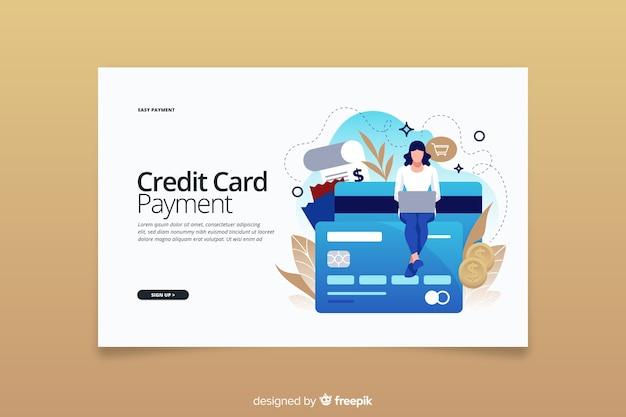 Concetto di pagamento con carta di credito della pagina di destinazione