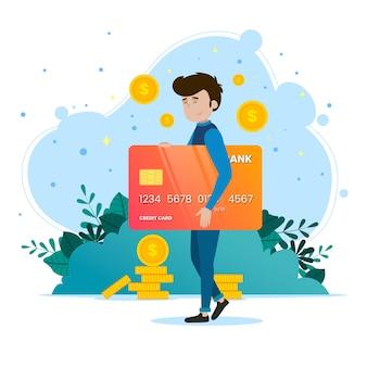 Concetto di pagamento con carta di credito per landing page