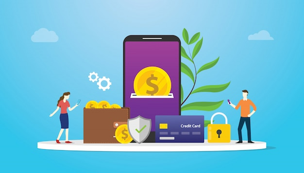 Concetto di pagamento di tecnologia portafoglio elettronico con persone del team