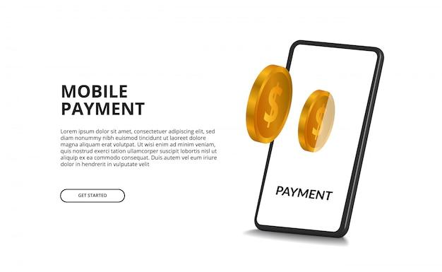 Concetto di pagamento digitale portafoglio elettronico con moneta d'oro 3d e smartphone prospettiva 3d