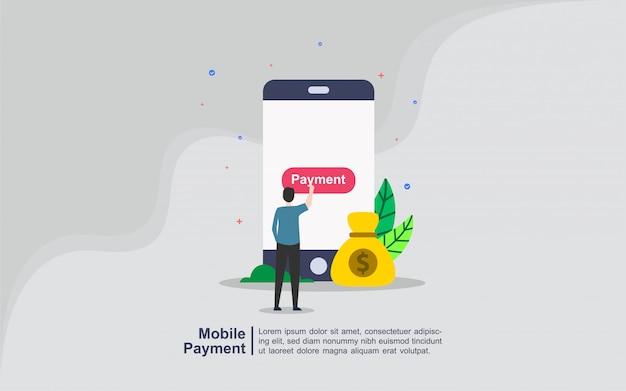 Concetto di pagamento mobile con carattere persone