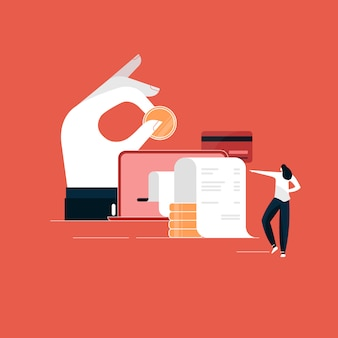 Concetto di pagamento online, computer portatile con fattura elettronica, illustrazione di transazione finanziaria, pagamento digitale