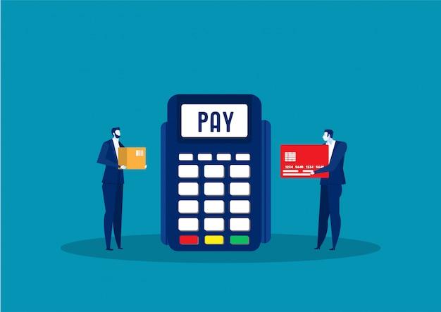 Concetto di pagamento online dell'uomo. transazione terminale di pagamento. paga con la carta.