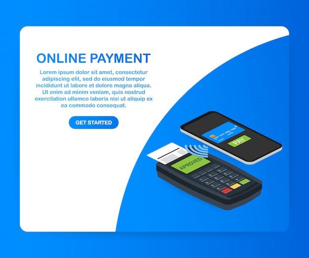 Concetto di pagamento online isometrico online. pagamenti via internet, protezione del trasferimento di denaro. .