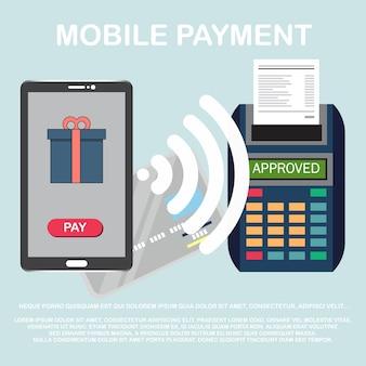 Concetto di pagamento wireless o elaborazione della carta di credito.