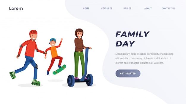 Concetto di pagina di destinazione del giorno della famiglia