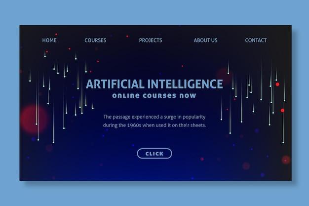 Concetto di pagina di destinazione dell'intelligenza artificiale