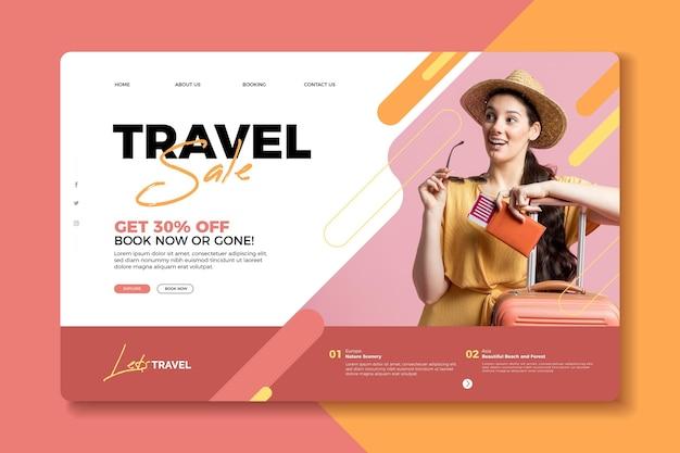 Concetto di pagina di destinazione di vendita di viaggio